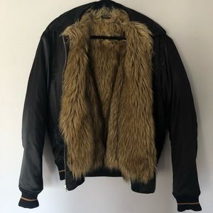Urban Outfitters Jackets & Coats - Satin Bomber with Faux Fur